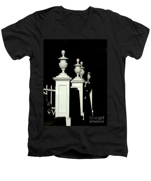 Colonial Fence Men's V-Neck T-Shirt by Marcia Lee Jones
