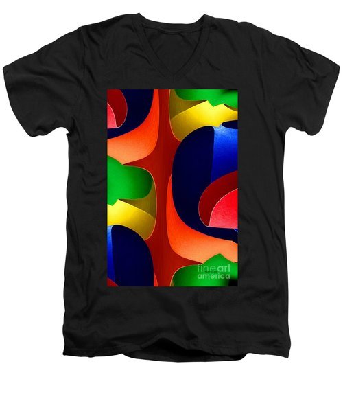 Men's V-Neck T-Shirt featuring the digital art Color Maze by Rafael Salazar