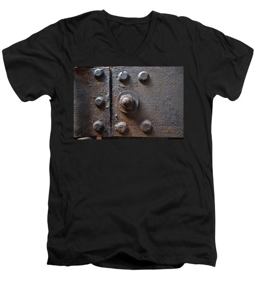 Men's V-Neck T-Shirt featuring the photograph Color Of Steel 3 by Fran Riley