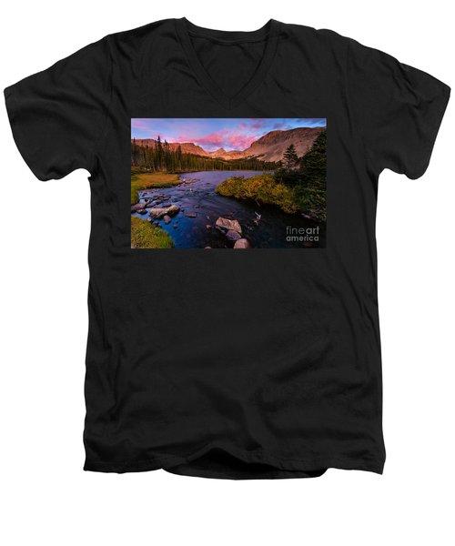 Color Over  Indian Peaks Men's V-Neck T-Shirt by Steven Reed