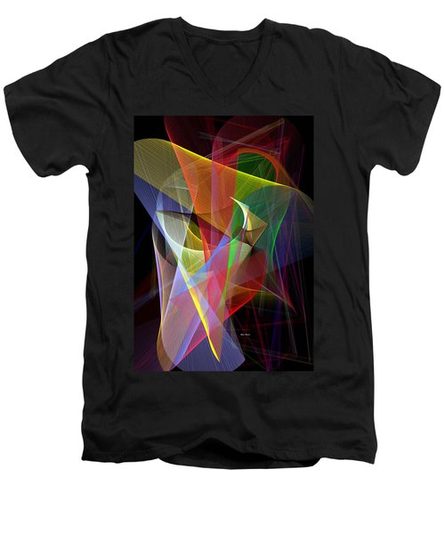 Men's V-Neck T-Shirt featuring the digital art Color Symphony by Rafael Salazar