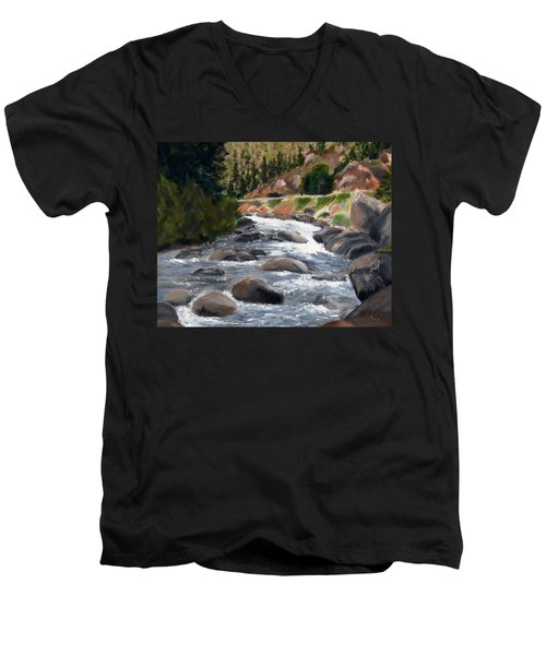 Men's V-Neck T-Shirt featuring the painting Colorado Rapids by Jamie Frier