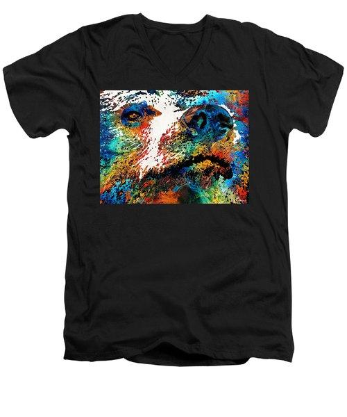 Colorful Bear Art - Bear Stare - By Sharon Cummings Men's V-Neck T-Shirt