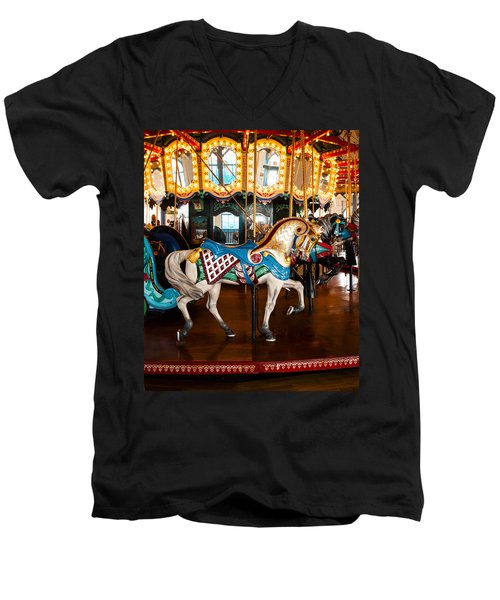 Men's V-Neck T-Shirt featuring the photograph Colorful Carousel Horse by Jerry Cowart