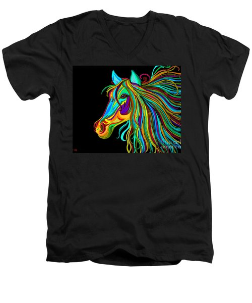 Colorful Horse Head 2 Men's V-Neck T-Shirt by Nick Gustafson