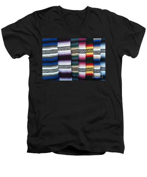 Men's V-Neck T-Shirt featuring the photograph Colorful Indian Rug Display by Gunter Nezhoda
