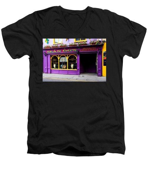 Colorful Irish Pub Men's V-Neck T-Shirt by Aidan Moran