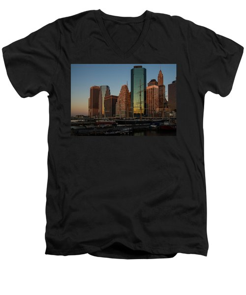 Men's V-Neck T-Shirt featuring the photograph Colorful New York  by Georgia Mizuleva