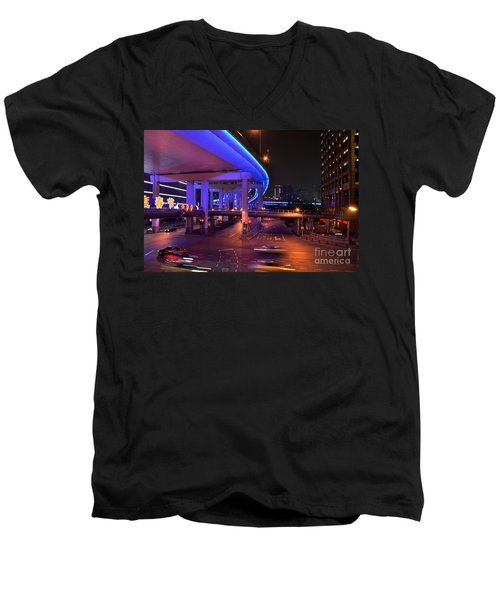 Colorful Night Traffic Scene In Shanghai China Men's V-Neck T-Shirt