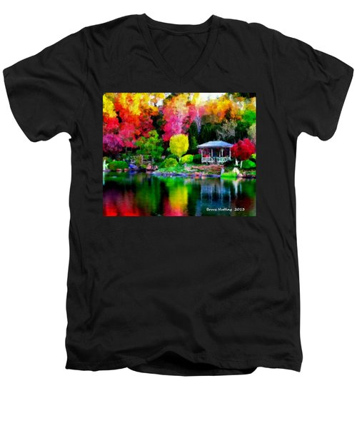 Men's V-Neck T-Shirt featuring the painting Colorful Park At The Lake by Bruce Nutting