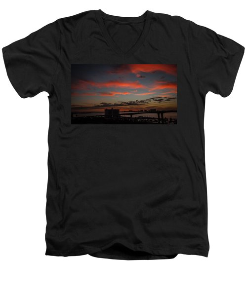 Men's V-Neck T-Shirt featuring the photograph Colorful Sunset by Jane Luxton