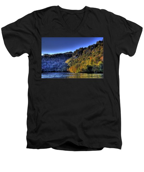 Men's V-Neck T-Shirt featuring the photograph Colorful Trees Over A Lake by Jonny D