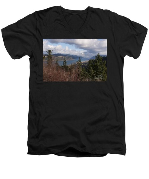 Men's V-Neck T-Shirt featuring the photograph Columbia Gorge by Belinda Greb