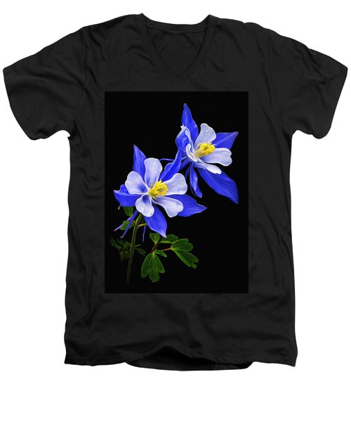Men's V-Neck T-Shirt featuring the photograph Columbine Duet by Priscilla Burgers