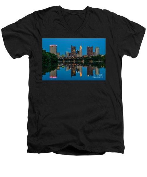 Columbus Ohio Night Skyline Photo Men's V-Neck T-Shirt