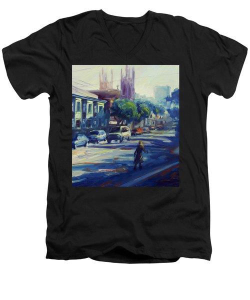 Columbus Street Men's V-Neck T-Shirt by Rick Nederlof