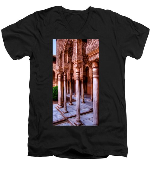 Columns Of The Court Of The Lions - Painting Men's V-Neck T-Shirt