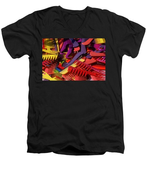 Men's V-Neck T-Shirt featuring the photograph Combs by Rodney Lee Williams