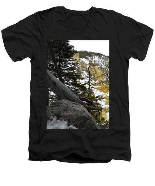 Composition At Lower Falls Men's V-Neck T-Shirt by Michele Myers