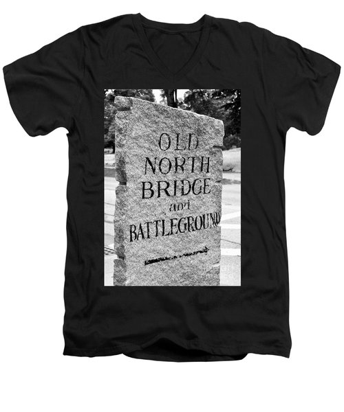 Concord Ma Old North Bridge Marker Black And White Men's V-Neck T-Shirt
