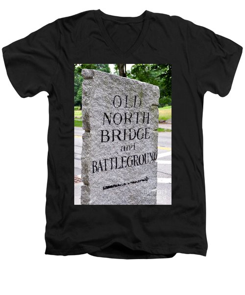 Concord Ma Old North Bridge Marker Men's V-Neck T-Shirt
