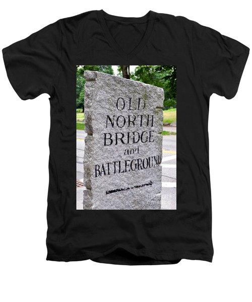 Concord Ma Old North Bridge Marker Men's V-Neck T-Shirt