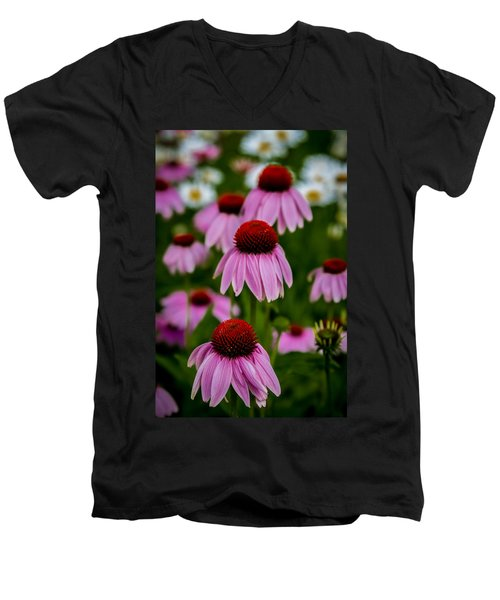 Coneflowers In Front Of Daisies Men's V-Neck T-Shirt