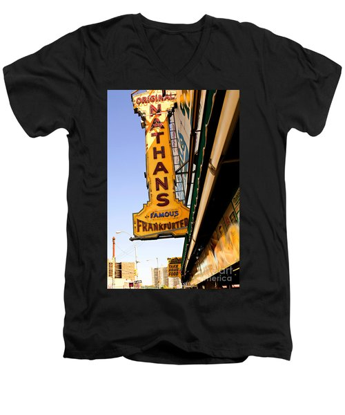 Coney Island Memories 1 Men's V-Neck T-Shirt by Madeline Ellis