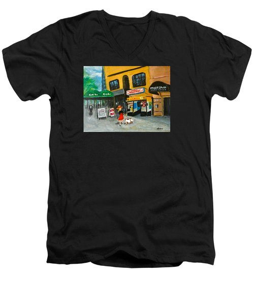 Men's V-Neck T-Shirt featuring the painting Connecticut Avenue Dc by Victoria Lakes