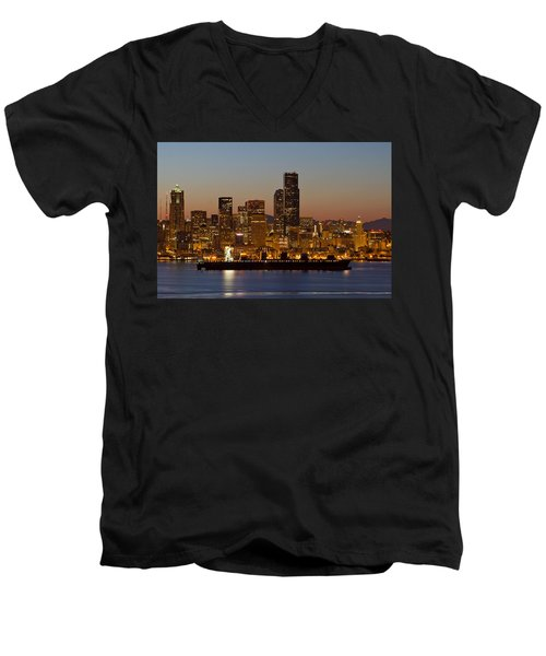 Men's V-Neck T-Shirt featuring the photograph Container Ship On Puget Sound Along Seattle Skyline by JPLDesigns