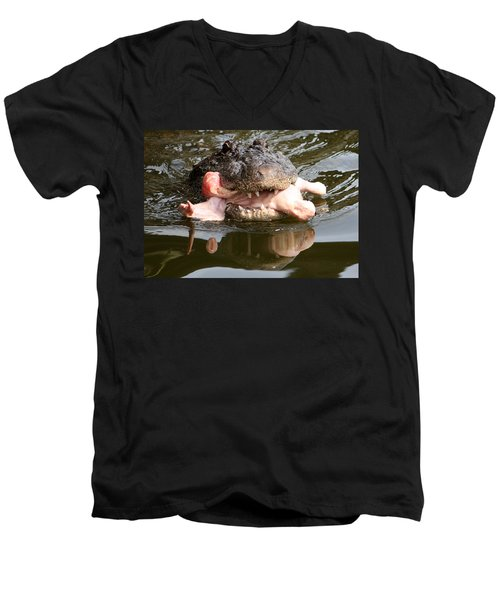Men's V-Neck T-Shirt featuring the photograph Contented by David Nicholls