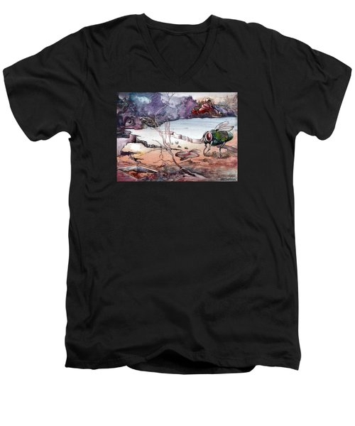 Men's V-Neck T-Shirt featuring the painting Contest by Mikhail Savchenko