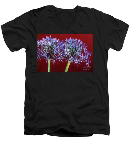 Men's V-Neck T-Shirt featuring the photograph Flowering Onions by Roselynne Broussard