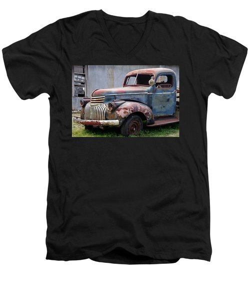Men's V-Neck T-Shirt featuring the photograph Cool Blue Chevy by Steven Bateson