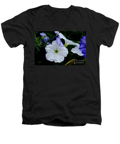 Men's V-Neck T-Shirt featuring the photograph Cool Summer Petunias by Wilma  Birdwell