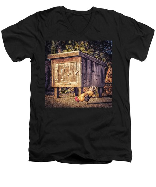 Men's V-Neck T-Shirt featuring the photograph Coop by Caitlyn  Grasso