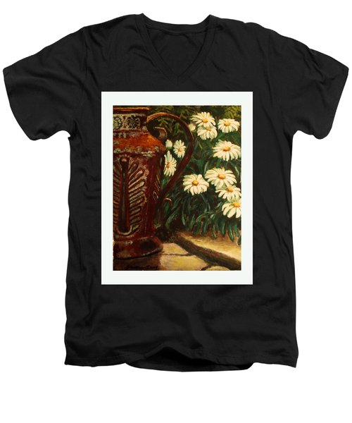 Copper And Daisies Men's V-Neck T-Shirt by Harriett Masterson