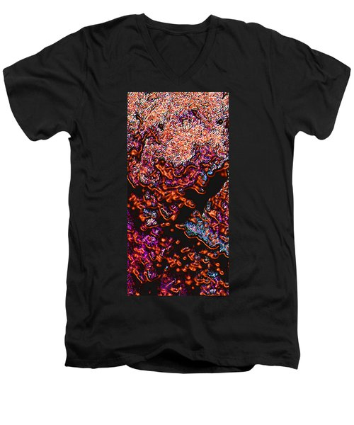 Men's V-Neck T-Shirt featuring the digital art Copperglow 1 by Stephanie Grant