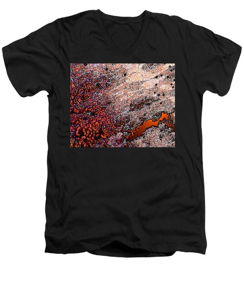 Men's V-Neck T-Shirt featuring the photograph Copperspill by Stephanie Grant