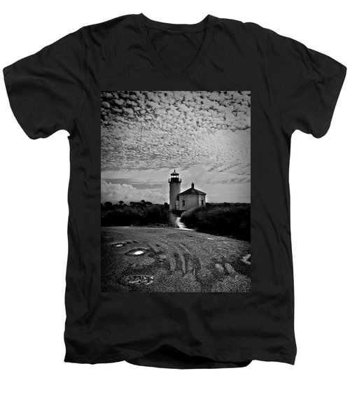 Coquille River Lighthouse Men's V-Neck T-Shirt by Melanie Lankford Photography