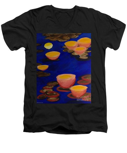 Coral Lily Pond Men's V-Neck T-Shirt by Anita Lewis