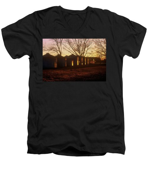 Men's V-Neck T-Shirt featuring the photograph Corn Cribs At Sunset by Rodney Lee Williams