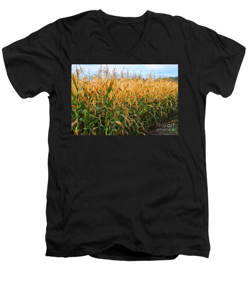 Men's V-Neck T-Shirt featuring the photograph Corn Harvest by Terri Gostola