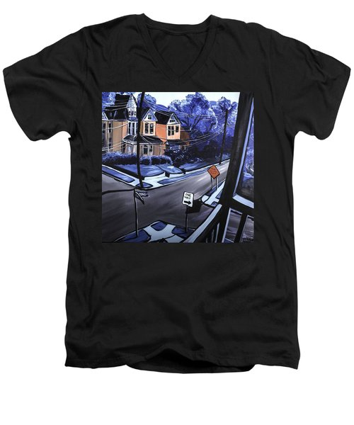 Men's V-Neck T-Shirt featuring the painting Corner View by Jennifer Noren
