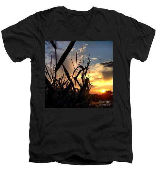 Cornfield Sundown Men's V-Neck T-Shirt by Angela Rath