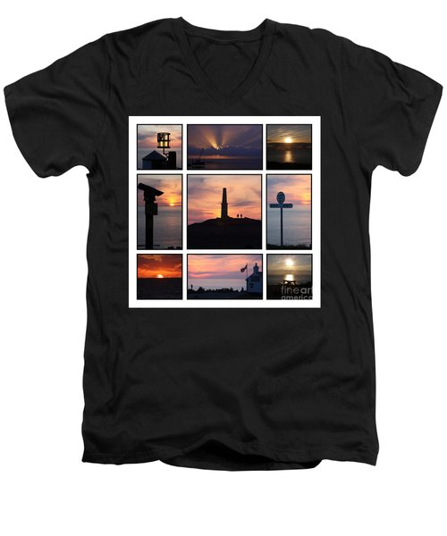 Men's V-Neck T-Shirt featuring the photograph Cornish Sunsets by Terri Waters
