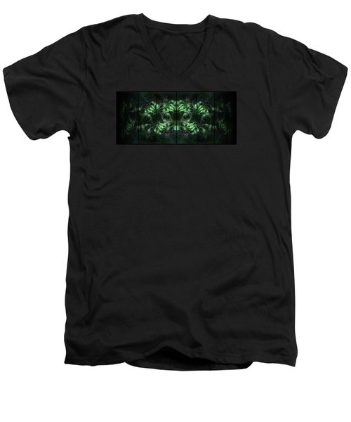 Cosmic Alien Eyes Green Men's V-Neck T-Shirt by Shawn Dall
