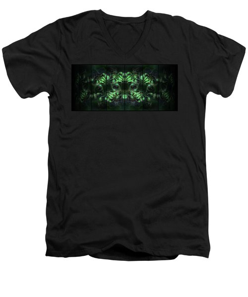 Men's V-Neck T-Shirt featuring the digital art Cosmic Alien Eyes Green by Shawn Dall