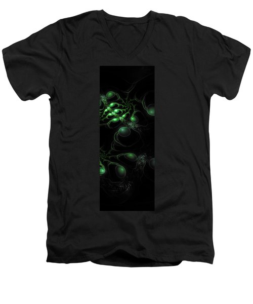 Men's V-Neck T-Shirt featuring the digital art Cosmic Alien Eyes Original 2 by Shawn Dall