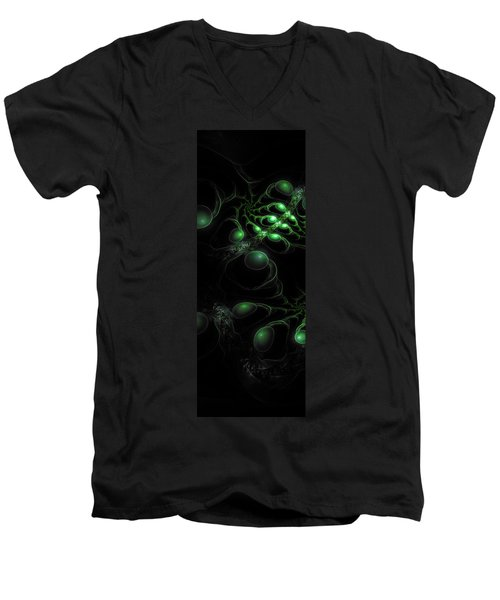 Men's V-Neck T-Shirt featuring the digital art Cosmic Alien Eyes Original by Shawn Dall